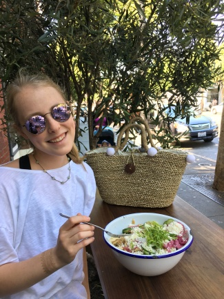 Enjoying my salad at the outside seating at the Valencia st location.