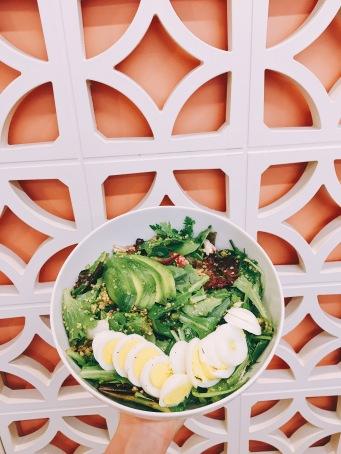 """Native"" salad : baby lettuces, herbs, beet, pickled red onion, avocado, hard-boiled egg, crispy quinoa, mustard lemon dressing"
