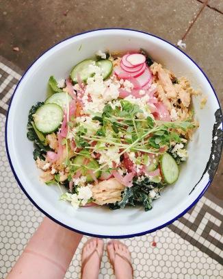 Lamb salad (sub chicken) : Mary's free-range chicken, cucumber, radish, pickled red onion, feta, harissa-spiked yogurt.