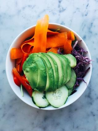 "Another side salad: avocado, seasonal veggies, hemp seed ""ranch"" (hidden under all of the veggies!)."