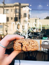 The ultimate chocolate chip cookie : almond flour, baking soda, sea salt, vanilla, flax, coconut oil, vegan chocolate chips.