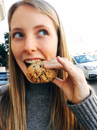 Me devouring a chocolate chip cookie... a.k.a. me on cloud nine!